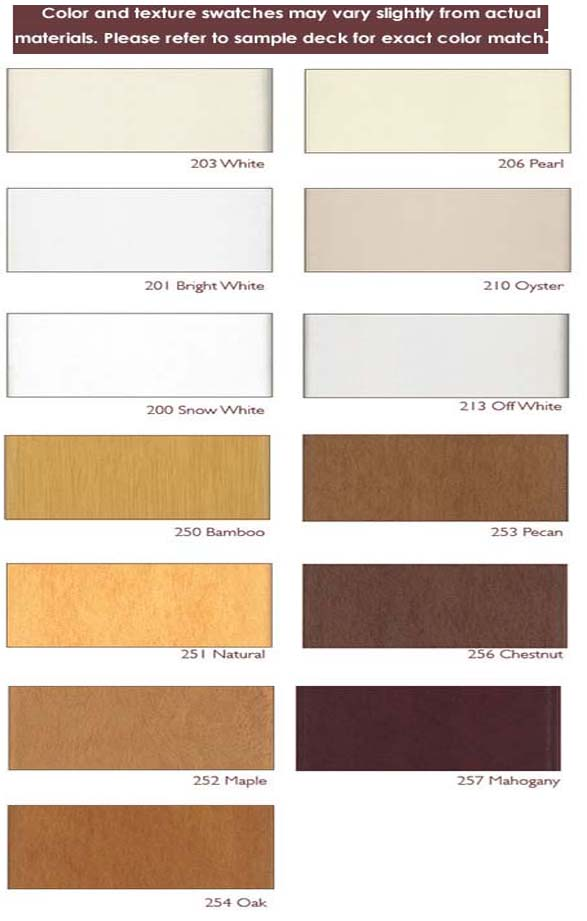 Faux Wood Blinds Color Chart